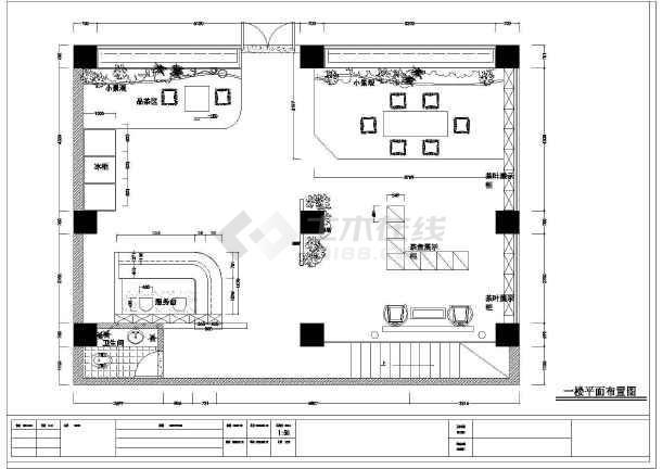 点击查看二层中式茶馆品茶室茶吧装修cad设计施工图纸第2张大图