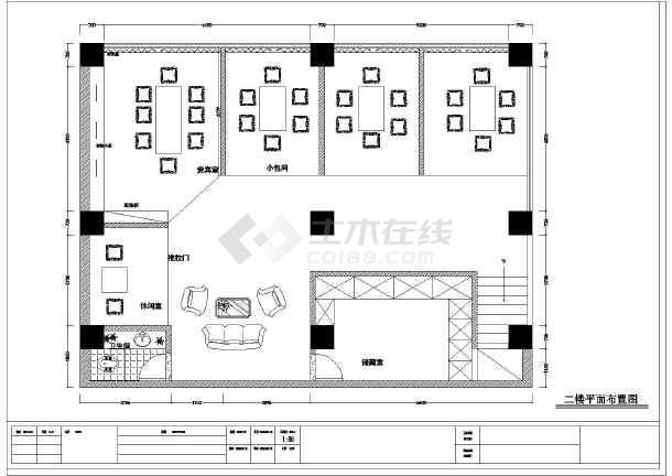 二层中式茶馆品茶室茶吧装修cad设计施工图纸-图3