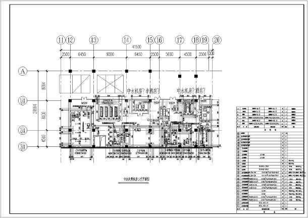 膜处理中水处理系统、机房给排水施工图-图二
