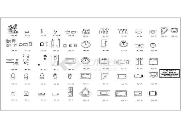建筑CAD常用千种图块之浴室用品-图1