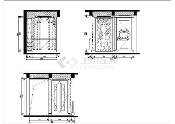 欧式风格两室两厅有书房样板房全套室内装修图纸含效果图-图一