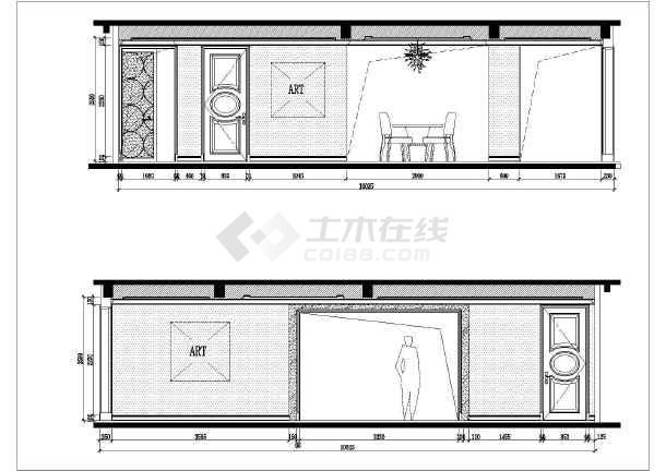 欧式风格两室两厅有书房样板房全套室内装修图纸含效果图-图二