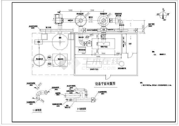 陕西某企业污水治理车间废气处理图纸-图2