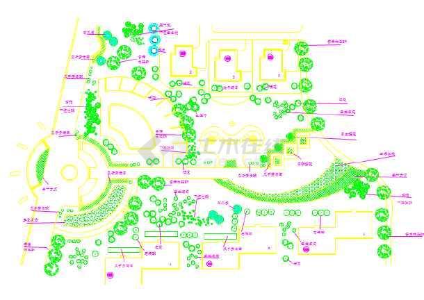 某大型中心绿地详细建筑平面配植图-图一