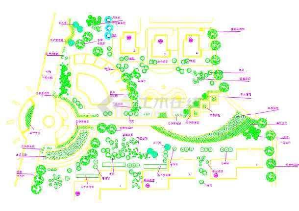 某大型中心绿地详细建筑平面配植图-图1