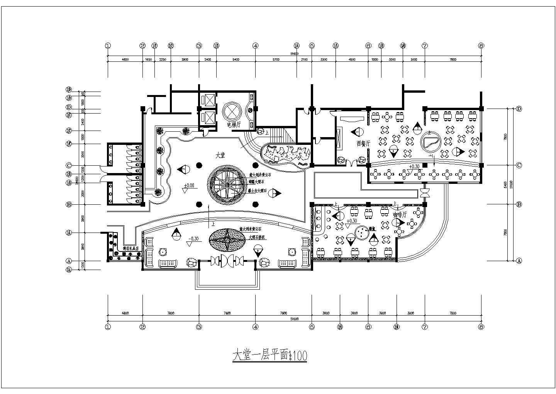 某地西餐厅的建筑一层平面图(共6张)图片1