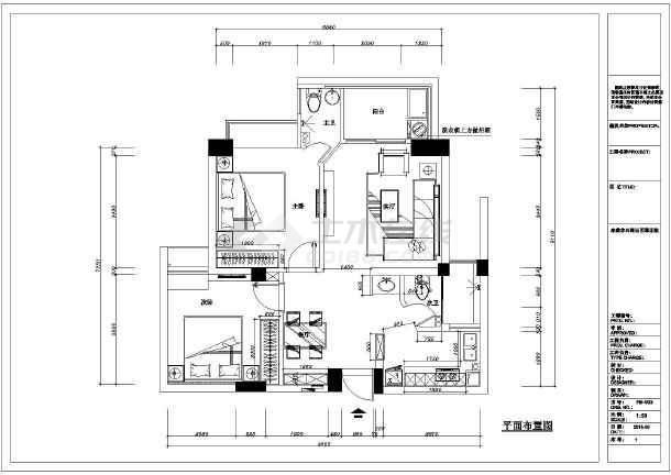 某小区住宅装修设计施工cad图纸-图2