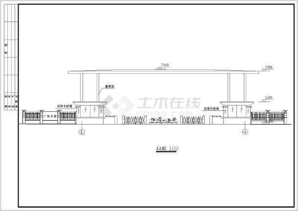 某小区钢结构大门建筑设计方案图纸-图一