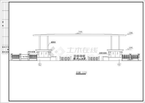 某小区钢结构大门建筑设计方案图纸-图二