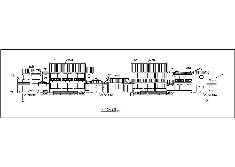 某地区古建筑方案设计立面布置图纸图片2
