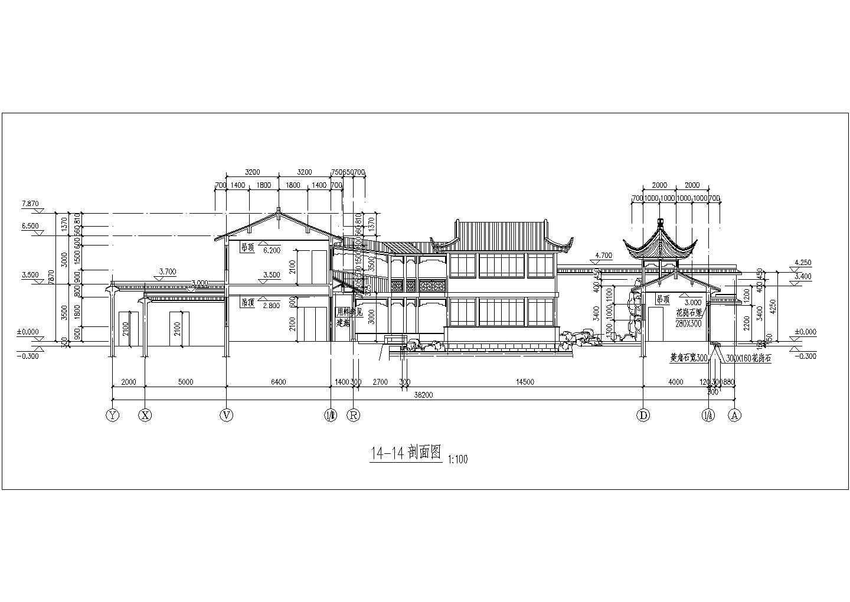 某地区古建筑方案设计立面布置图纸图片3
