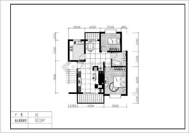 某地经典户型建筑图(含建筑面积)-图一