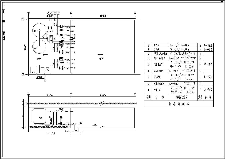 消火栓喷淋水炮共用稳压系统泵房平面图剖面图图片1