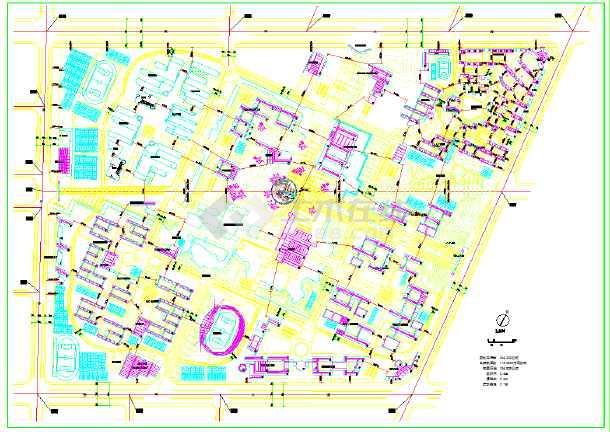 某高校新校区规划图(含建筑面积)-图1