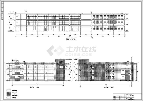 某地区三层框架结构教学楼方案设计图纸图片