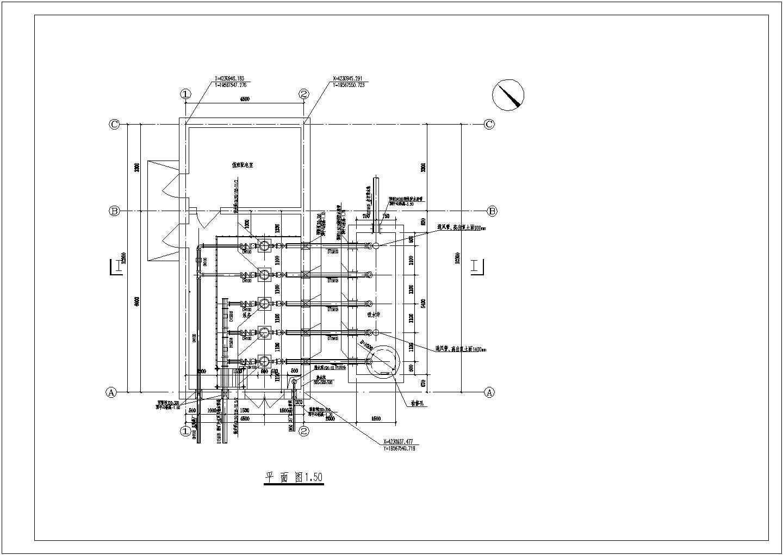 某地矿矿井水提升泵房平面图剖面图图片1