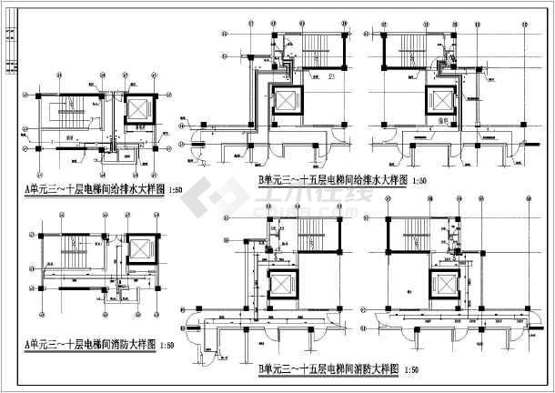 某十五层商住公寓楼建筑给排水施工图图片