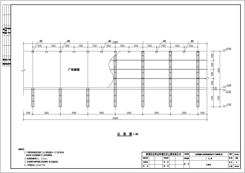 某地商业楼广告牌围挡工程结构设计施工图图片2