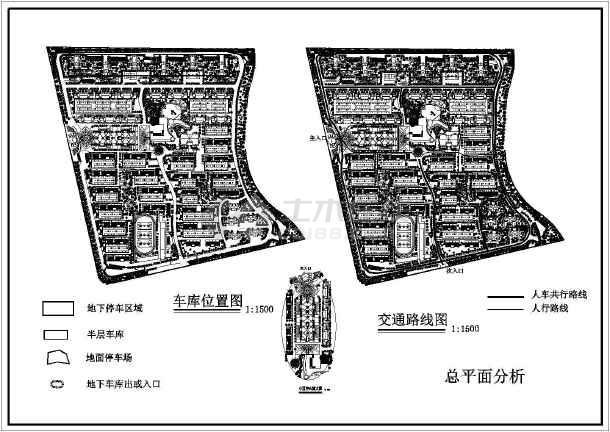 某地小型居住小区地形建筑规划详图-图1