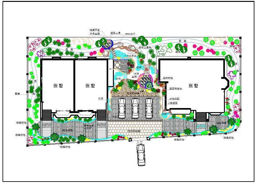 某地小型别墅景观方案绿化设计平面图图片1