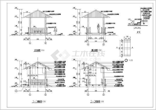 【湖南】某四方木亭景观设计施工详图-图二