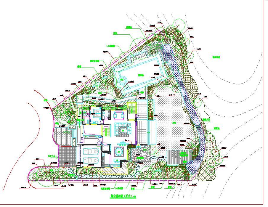 某地小型别墅景观绿化设计方案图纸图片1