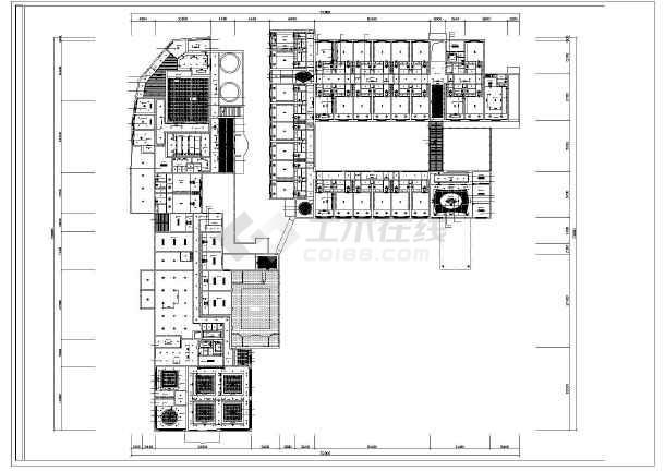 某地区现代度假酒店装修设计平面图-图一