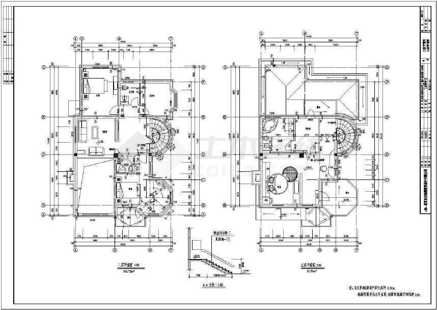 某砖混结构三层独栋别墅建筑施工图-图1