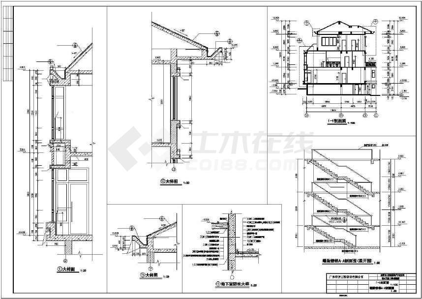 【东海】三层别墅建筑施工图,含效果图-图1