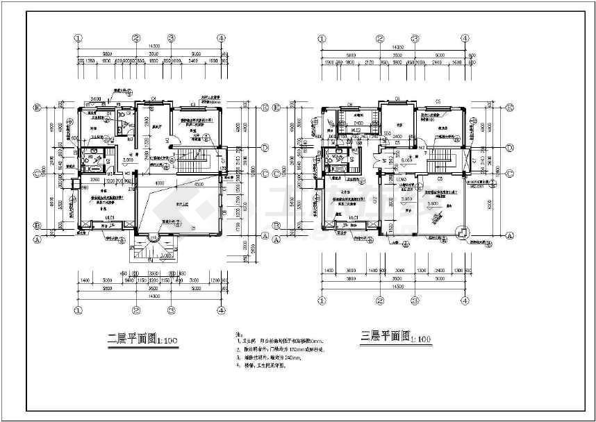 三层框架结构B型豪华别墅建筑施工图-图3