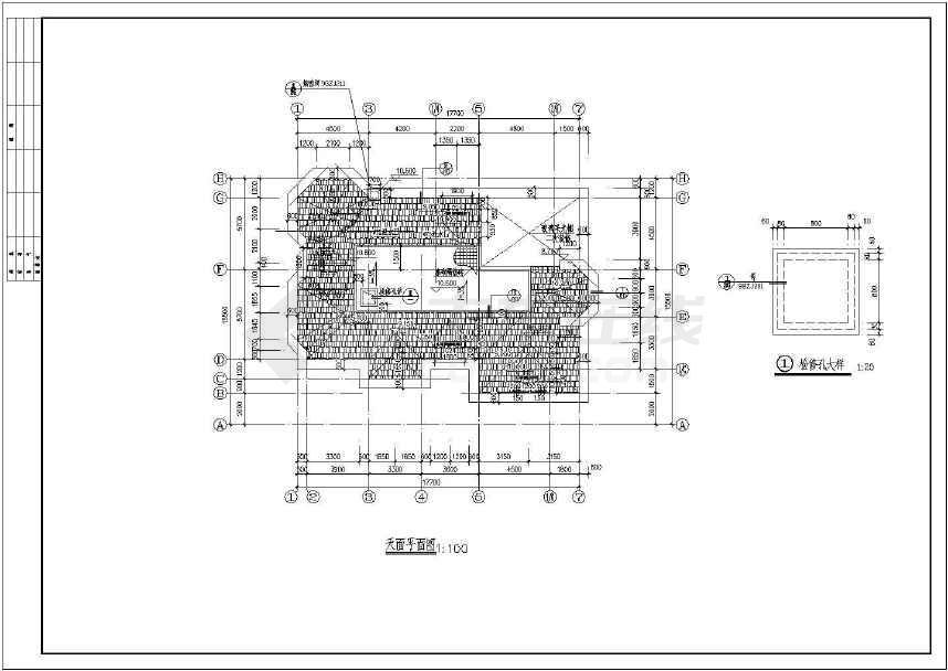 二层框架结构独栋别墅建筑、结构施工图,含效果图-图1