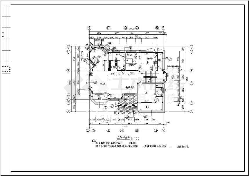 二层框架结构独栋别墅建筑、结构施工图,含效果图-图3